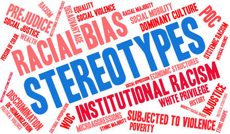 Stereotypes word cloud on a white background. Иллюстрация