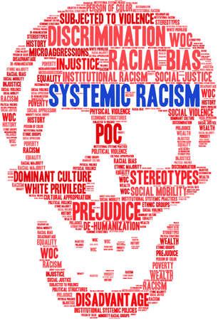 Systemic Racism word cloud on a white background. Illusztráció