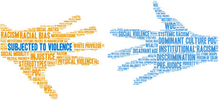 Subjected To Violence word cloud on a white background. Vettoriali