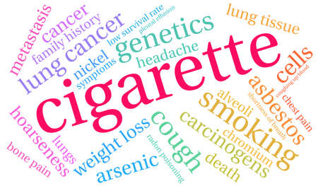 Cigarette word cloud on a white background. Stok Fotoğraf - 104293892