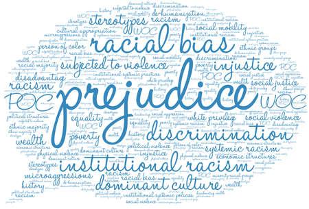 Prejudice word cloud on a white background. Foto de archivo - 104293893