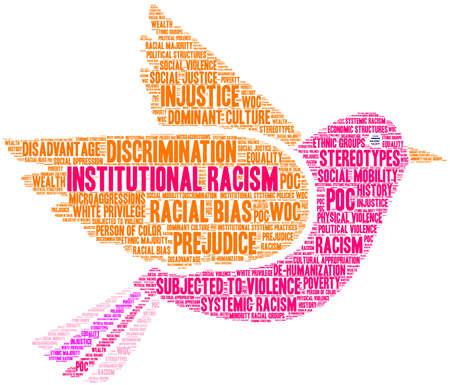 Nube de palabras de racismo institucional sobre un fondo blanco. Ilustración de vector