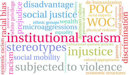 Institutional Racism word cloud on a white background. Foto de archivo - 104293947