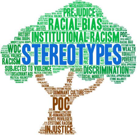 Nube de palabras de estereotipos sobre un fondo blanco. Ilustración de vector