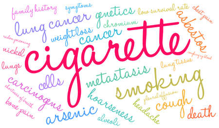 Cigarette word cloud on a white background. Stok Fotoğraf - 104293963