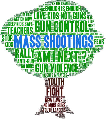 Mass Shootings word cloud on a white background. Imagens - 104293999