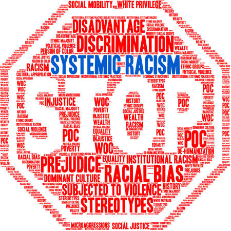 Systemic Racism word cloud on a white background. 일러스트