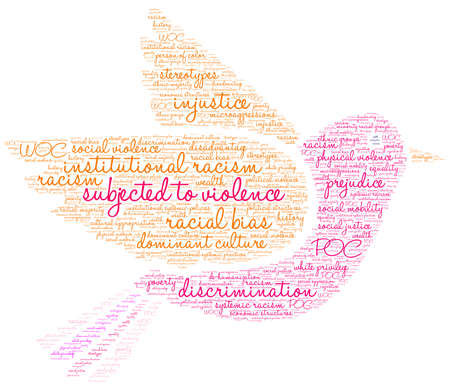 Subjected To Violence word cloud on a white background. Illustration