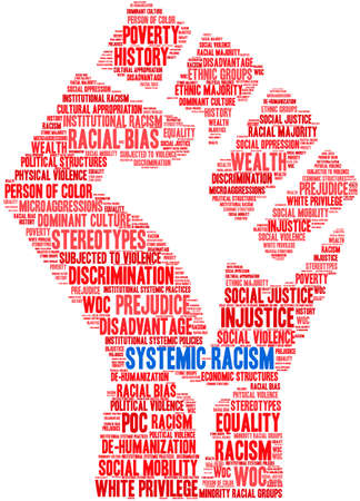 Systemic Racism word cloud on a white background. Banco de Imagens - 104294030