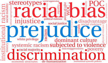 Prejudice word cloud on a white background.