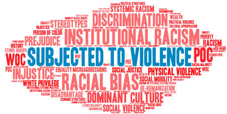 Subjected To Violence word cloud on a white background.