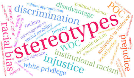 Stereotype Wortwolke auf weißem Hintergrund.