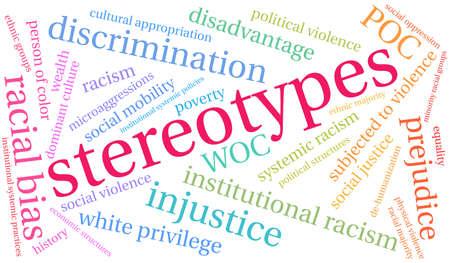 Stereotypen word cloud op een witte achtergrond.