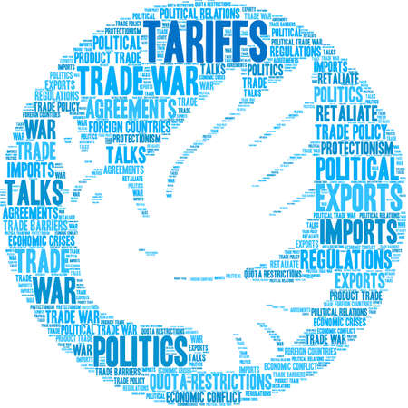 Tariffs word cloud on a white background.