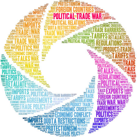 Political Trade War word cloud on a white background.