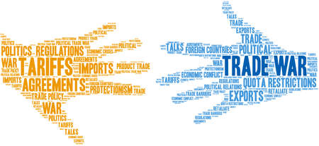 Trade War word cloud on a white background.