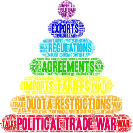 Nuage de mot de guerre commerciale politique sur fond blanc.