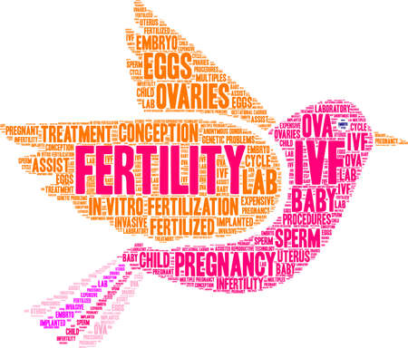 Fertility word cloud on a white background. Vettoriali
