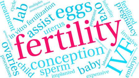 Fertility word cloud on a white background. Illusztráció