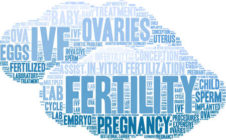 Fertility word cloud on a white background. Ilustração