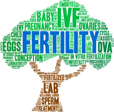 Fertility word cloud on a white background. Vectores