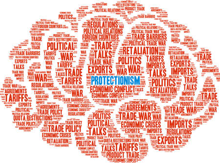 Protectionism word cloud on a white background.
