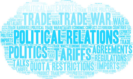 Political Relations word cloud on a white background.