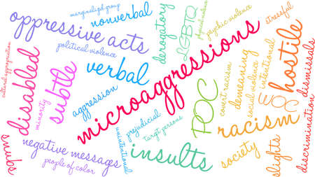 Microaggressions word cloud on a white background.