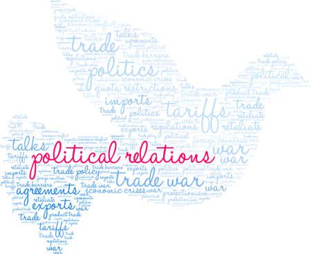 Nuage de mot de relations politiques sur fond blanc.