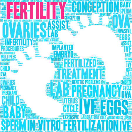 Fertility word cloud on a white background. Banque d'images - 108894608