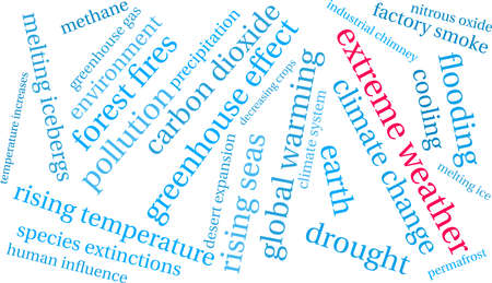 Extreme Weather word cloud on a white background. Banco de Imagens - 114402701