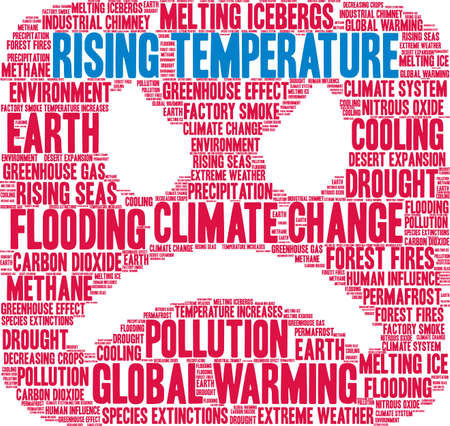 Rising Temperature word cloud on a white background.  Illustration