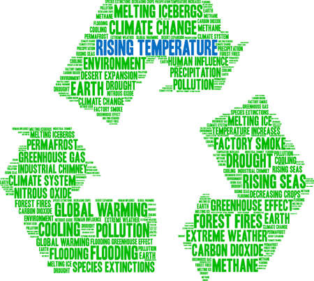 Rising Temperature word cloud on a white background.  Ilustrace