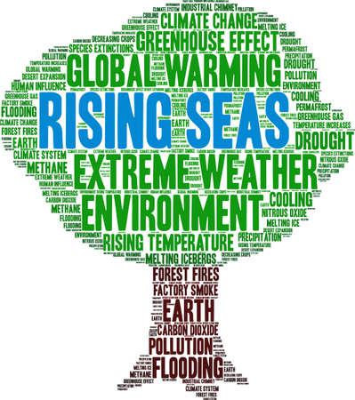 Rising Seas word cloud on a white background. Ilustração