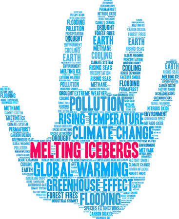 Melting Icebergs word cloud on a white background. Иллюстрация