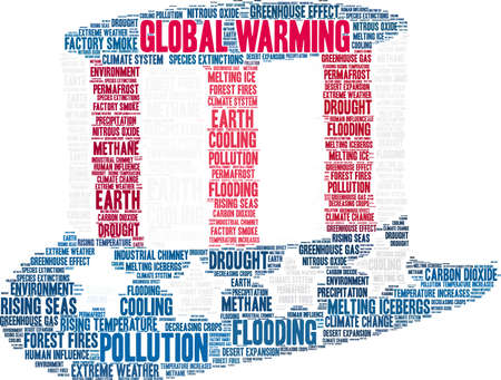 Global Warming word cloud on a white background. Ilustrace