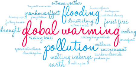 Global Warming word cloud on a white background. Illustration