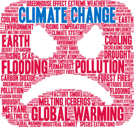 Climate Change word cloud on a white background. Banco de Imagens - 114403134