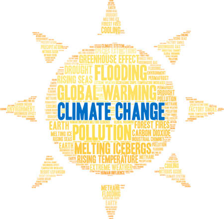 Climate Change word cloud on a white background. Banque d'images - 114403141