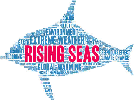 Rising Seas word cloud on a white background.