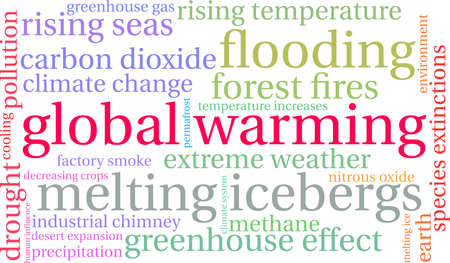 Global Warming word cloud on a white background. Vectores
