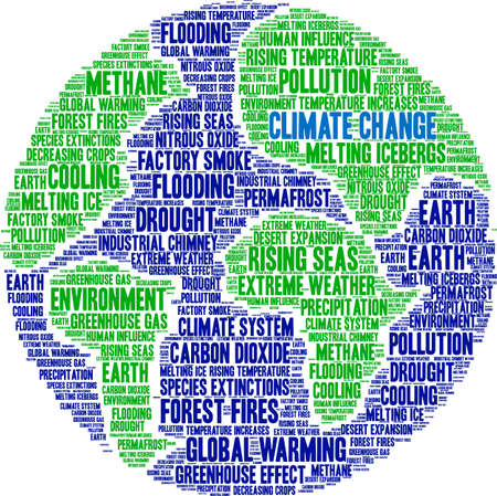 Climate Change word cloud on a white background. 免版税图像 - 114403345