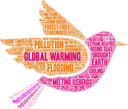 Global Warming word cloud on a white background. Ilustração