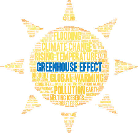 Greenhouse Effect word cloud on a white background. Ilustração