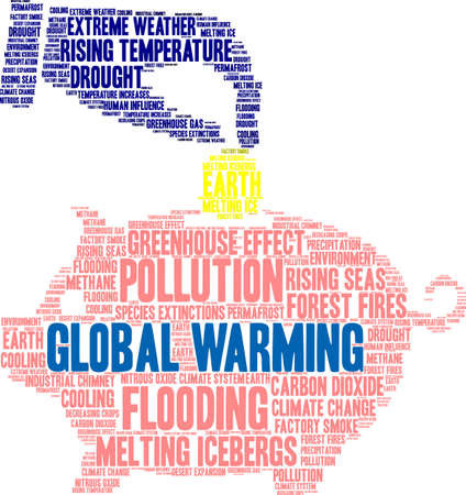 Global Warming word cloud on a white background. 일러스트