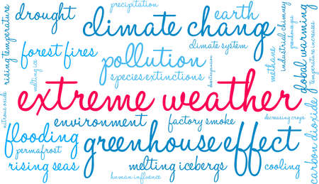 Extreme Weather word cloud on a white background. 矢量图像