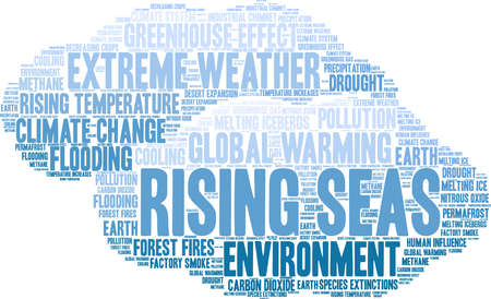 Rising Seas word cloud on a white background. Vectores
