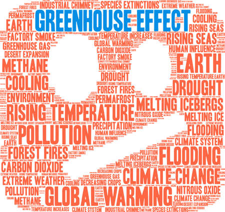Greenhouse Effect word cloud on a white background. 일러스트