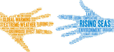 Rising Seas word cloud on a white background. Illustration