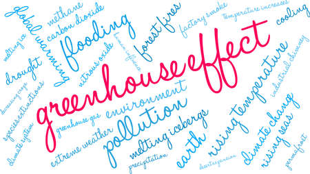 Greenhouse Effect word cloud on a white background. Illustration